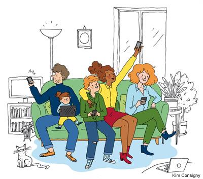Illustration colorée de « La famille Tout-Écran »